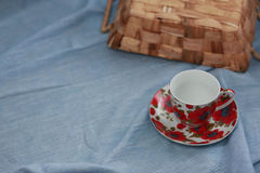 Cup and colorful fabrics Royalty Free Stock Image