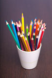 Cup with colorful pencils, closeup Royalty Free Stock Images