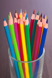 Cup with colorful pencils, closeup Royalty Free Stock Image