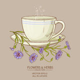 Cup of corn flower tea Stock Photography