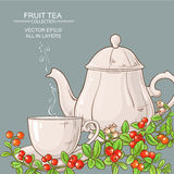 Cup of cranberry tea and teapot Royalty Free Stock Image
