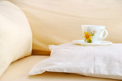 Cup on a cushion Royalty Free Stock Images