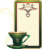 Cup and decorative card with ornament royalty free stock photos