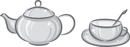 cup den gråa teapoten Arkivfoto