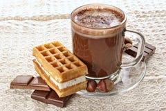 Cup der heißen Schokolade und der Oblate lizenzfreie stockbilder
