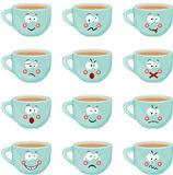 Cup with different expressions Royalty Free Stock Photos