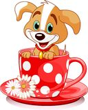 Cup dog. Cute puppy in tea cup. Vector illustration