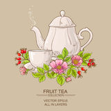 Cup of dog rose tea and teapot Royalty Free Stock Photography