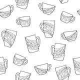 Cup doodle graphic art black white seamless pattern illustration. Vector Stock Image