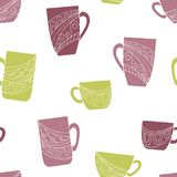 Cup doodle graphic color seamless pattern background illustration vector. Cup doodle graphic color seamless pattern background vector vector illustration