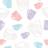 Cup doodle graphic color seamless pattern illustration Royalty Free Stock Images