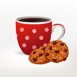 cup with dots decor and Cookies set Royalty Free Stock Photography