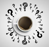 Cup with drawing question Royalty Free Stock Image
