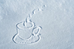Cup drawn in snow Royalty Free Stock Photo