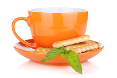 Cup of drink with crackers and mint Royalty Free Stock Image
