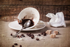 Cup of drunk coffee Royalty Free Stock Photography