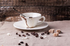 Cup of drunk coffee Royalty Free Stock Image
