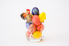 Cup of easter eggs Stock Photos