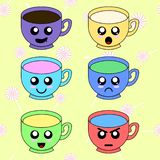 Cup emoticons set with cheeks and eyes. Cups on pattern with candies. Colored kawaii doodle cups character in flat design. royalty free illustration