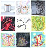 Cup emotions set. Several cups draw by hand stock images