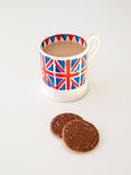 A cup of English tea and biscuits Royalty Free Stock Photos