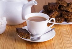 Cup of English Tea with Cake for Tea Break in Afternoon Royalty Free Stock Images