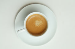 Cup of espresso. A cup of espresso from the top royalty free stock photo
