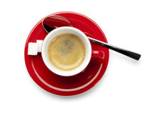 Cup of espresso, birds view, isolated royalty free stock photos