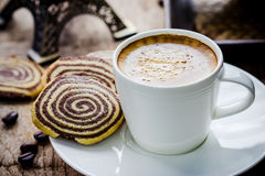 Cup of espresso and biscotti Stock Images