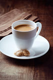 Cup of espresso with brown sugar Royalty Free Stock Image