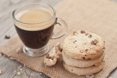 Cup of espresso and chocolate chip cookies. Stock Image