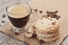 Cup of espresso and chocolate chip cookies. Stock Images