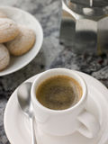 Cup of Espresso Coffee. A Cup of Espresso Coffee with Amaretti Biscuit Stock Photography