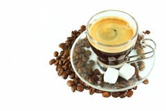Cup espresso and coffee beans Royalty Free Stock Photos