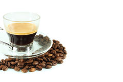 Cup espresso and coffee beans Stock Photo