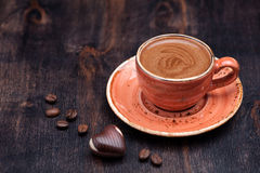 Cup of Espresso Coffee and chocolates Stock Photo