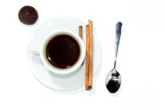 Cup of espresso coffee. Cup of espresso, cinnamon and candy stock image