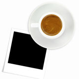 Cup of espresso coffee and photo frame Stock Photography