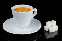 Cup of espresso coffee with sugar Stock Photo