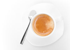 Cup of espresso coffee. Top view on white Royalty Free Stock Image