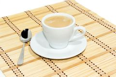 Cup of espresso coffee. Espresso coffee in white cup royalty free stock images