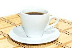 Cup of espresso coffee. Espresso coffee in white cup royalty free stock photography