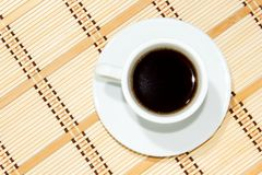 Cup of espresso coffee. Espresso coffee in white cup royalty free stock photo