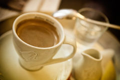 A cup of espresso coffee. White cup of espresso italian coffee Royalty Free Stock Photos