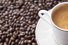 Cup of espresso. With foam on top. Coffee background with copy space Stock Images