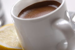 Cup of Espresso with Lemon Stock Photo