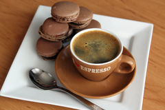 Cup of espresso, macaroons Royalty Free Stock Image