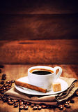 Cup of espresso with roasted coffee beans Royalty Free Stock Images