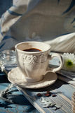 Cup of espresso set on a wooden table Stock Image