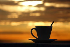 Cup Of Espresso Silhouette With Brazilian Coffee In Sunlight And Stock Photography